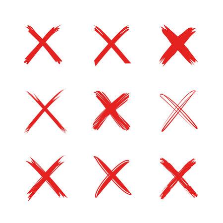 rode verkeerde tekens Stock Illustratie