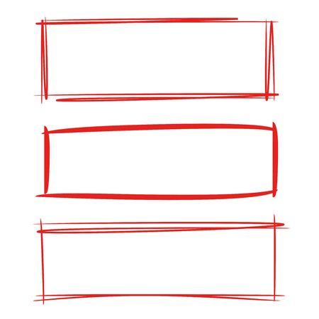 Red grunge rectangle frames  イラスト・ベクター素材