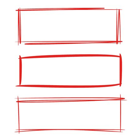 Red grunge rectangle frames 矢量图像
