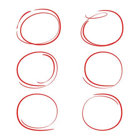 Cercle rouge dessiné à la main, ovale pour marquer le texte