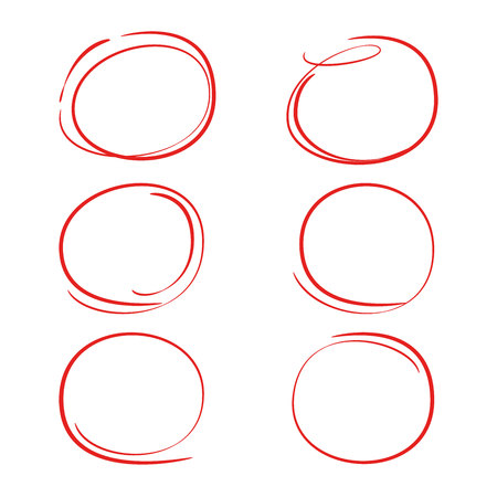 red hand drawn circle, oval for marking text