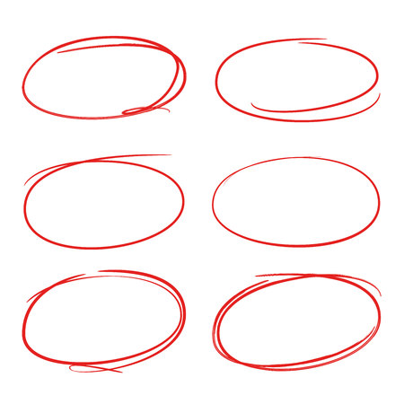red hand drawn circle, oval for marking text Stock Vector - 81369061