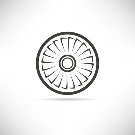 Jet engine turbine vector illustration.