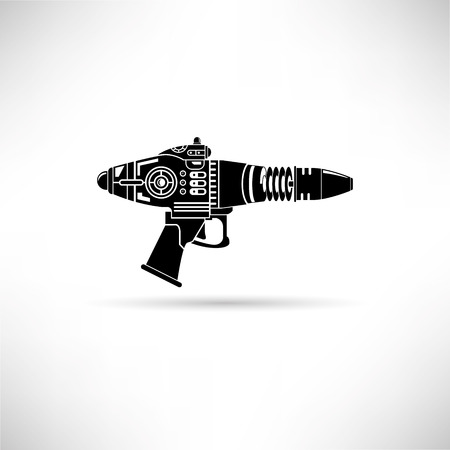 Futuristic gun, laser gun vector illustration.