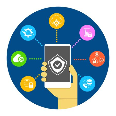 data backup: hand holding smartphone for mobile security, network security Illustration