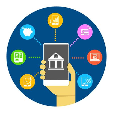 オンラインバンキングと支払いの概念のためのスマートフォンを保持するハンドヘルド