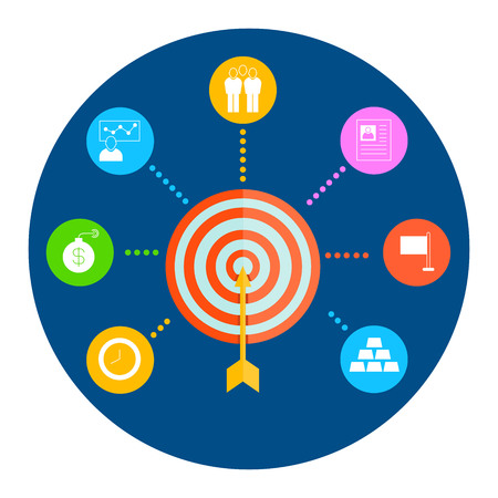 tactics: dart diagram for business management concept Illustration