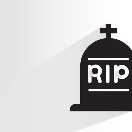 RIP, tomb icon in white back drop