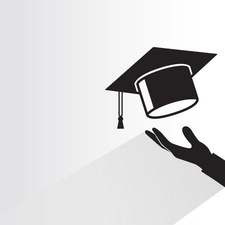 hand holding graduation cap Illustration