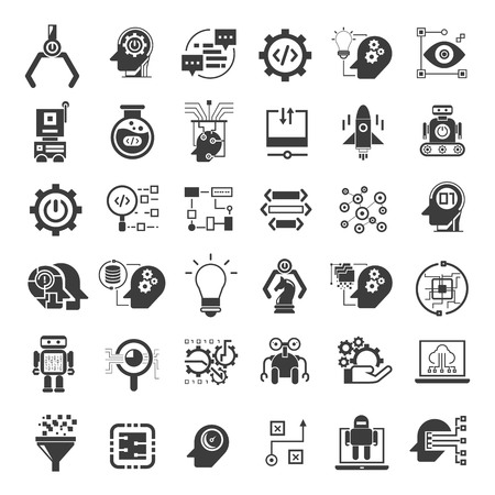 robotics and artificial intelligence icons