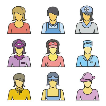 Woman avatar icons, career icons illustration.