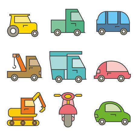 Transportation icons illustration on white background.