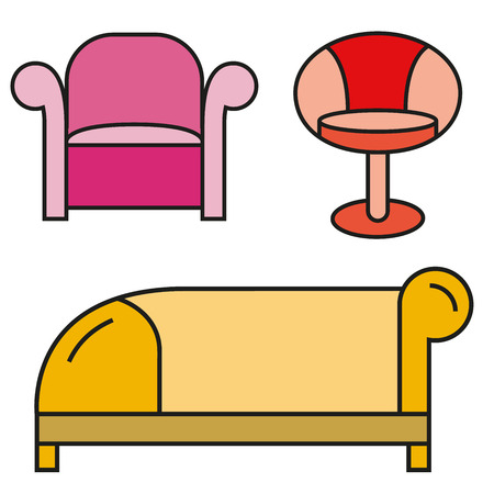 Sofa and chair icons. Illustration
