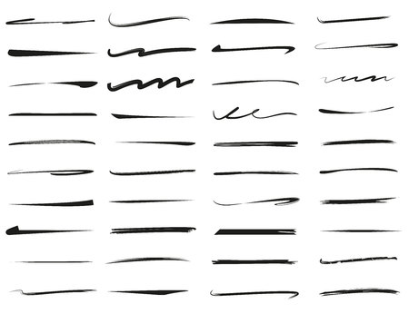 set of hand drawn underlines, brush line set