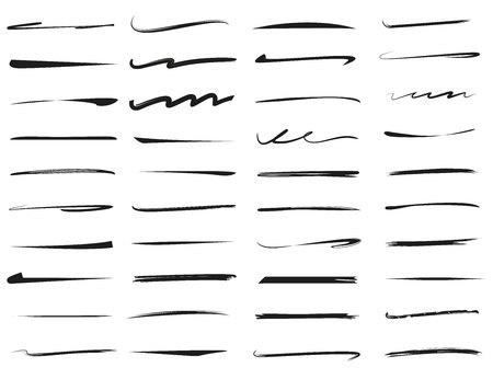 set hand getrokken onderstrepingen, penseel lijn set Vector Illustratie