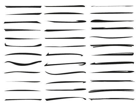 set of hand drawn underlines, brush line set Stock Vector - 102382060