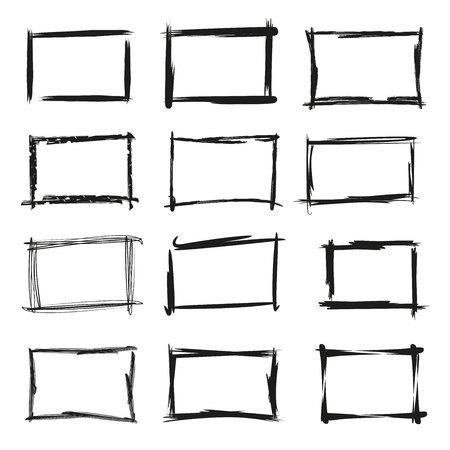 black grunge frame set Иллюстрация