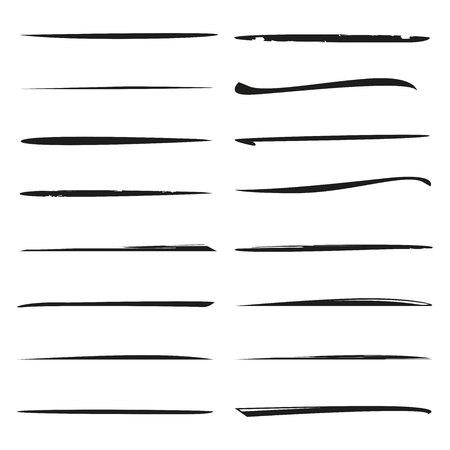 black hand drawn underlines, brush lines Illustration