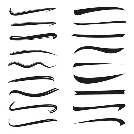 set of hand drawn underlines, brush line set Stock Vector - 102382463