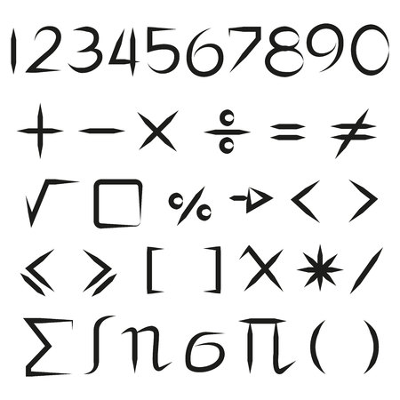 hand drawn math sign and number