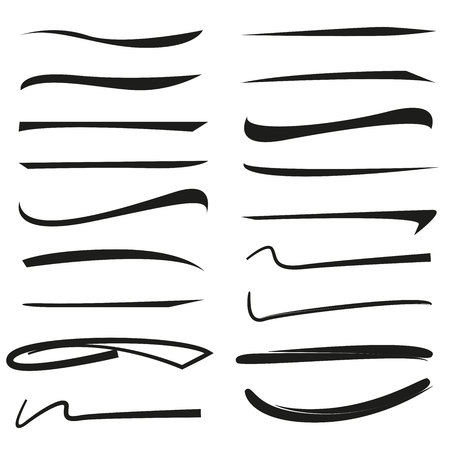 set of hand drawn underlines, brush line set Stock Vector - 102382470