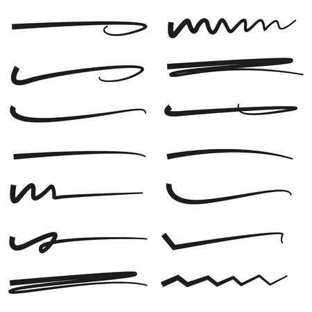 black hand drawn doodle lines, brush lines