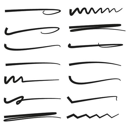 black hand drawn doodle lines, brush lines