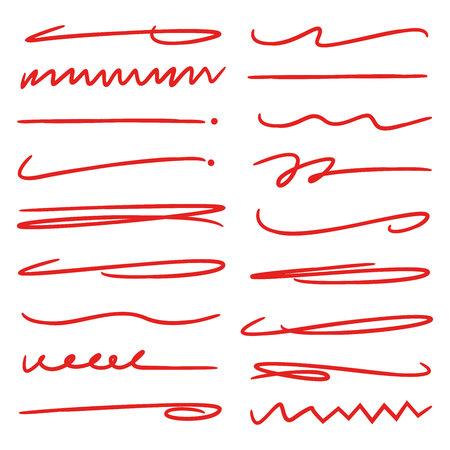 red hand drawn underlines, doodle lines, brush lines Illustration