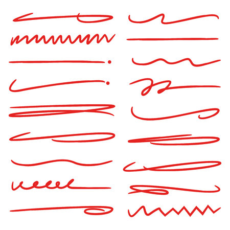 red hand drawn underlines, doodle lines, brush lines Vettoriali