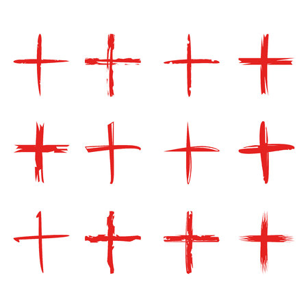 red grunge cross signs Vectores