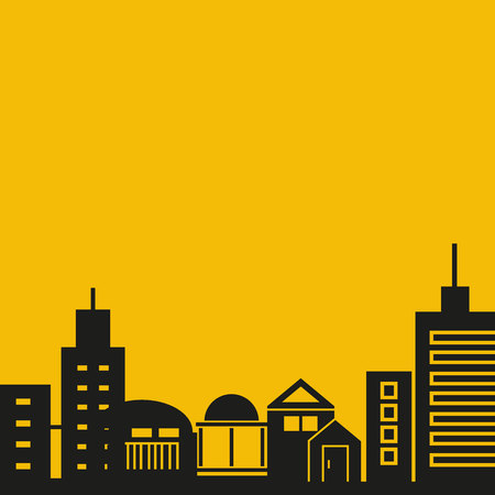 city skyline in yellow background