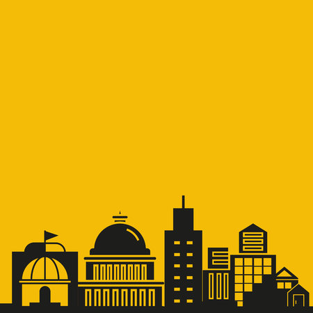 city skyline in yellow background