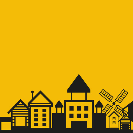 Building cityscape in yellow background.
