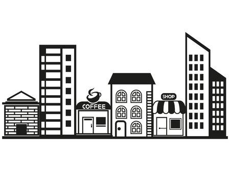 빌딩, 도시 풍경 일러스트