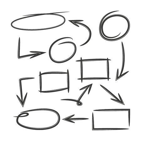 diagramma disegnato a mano, grafico disegnato a mano Vettoriali