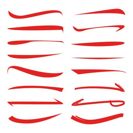 red underline set, brush lines