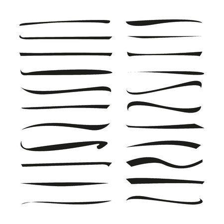 collection of black brush lines, grunge brush set Illustration
