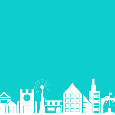 city skyline in blue background template vector illustration