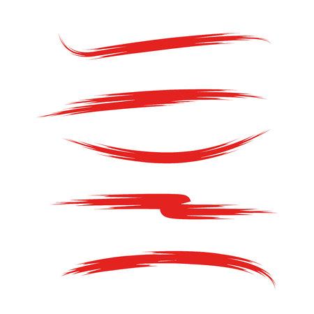 Rote Pinselstriche, Pinselstrich-Set, Grunge-Pinsel-Set, rote Unterstreichungen Vektorgrafik