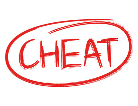 cheat red word on white background