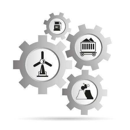 energy icons in gear diagram Standard-Bild - 101884693