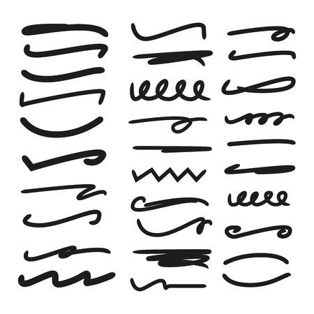 underline, highlighter marker strokes
