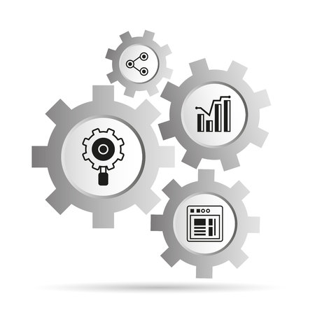 Data analytics concept icons in gears diagram illustration.