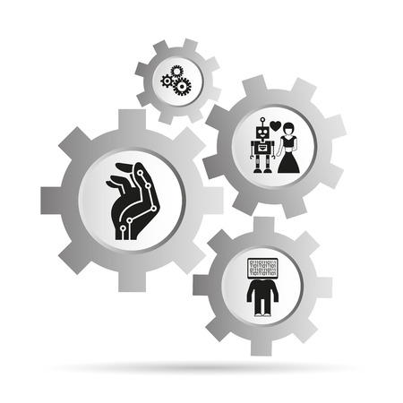 artificial intelligence and robotics concept in gears diagram Vector illustration.