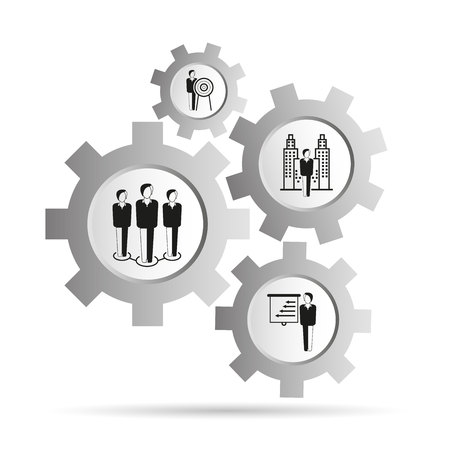 business management concept in gears diagram 일러스트
