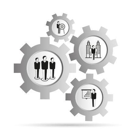business management concept in gears diagram Çizim