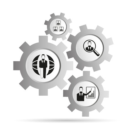 business management concept in gears diagram Illustration