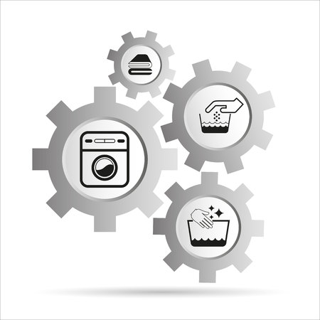cleaning service, household service, hotel service icons in gear