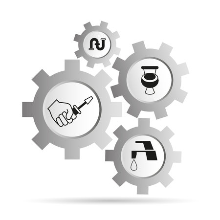 plumbing service icons in gear Illustration