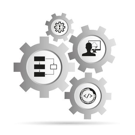 Programmation et le concept de codage dans le diagramme de gears Banque d'images - 97475113